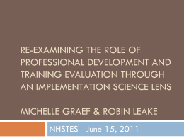 Re-examining the Role of Professional Development