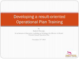 Developing a result-oriented Operational Plan Training