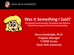 PPT - Texas Tech University Departments