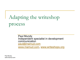 Adapting the writeshop process