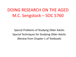 IV. Methods of Studying Aging