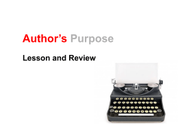 Author`s Purpose Lesson 3 PowerPoint