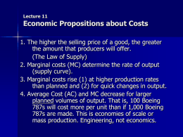 Some Economic Propositions about Costs