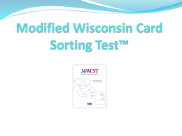 M-WCST - Psychological Assessment Resources, Inc.