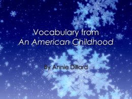 "Vocabulary from ""An American Childhood"""