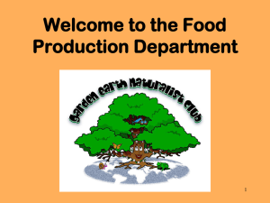 Welcome to the Food Production Department (PowerPoint)