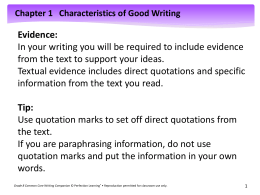 Chapter 1 Characteristics of Good Writing