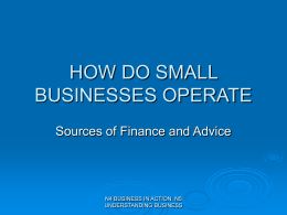 8. Sources of finance & advice