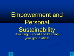 Empowerment and Personal Sustainability