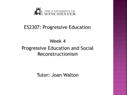 Social Reconstructionism and Progressive Education