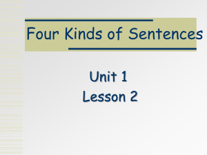 Unit 1 L2 Four Kinds of Sentences revised