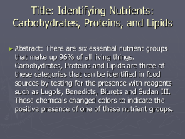 Identifying Nutrients
