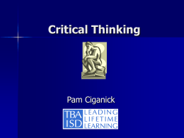 Critical Thinking - Michigan`s Mission Possible