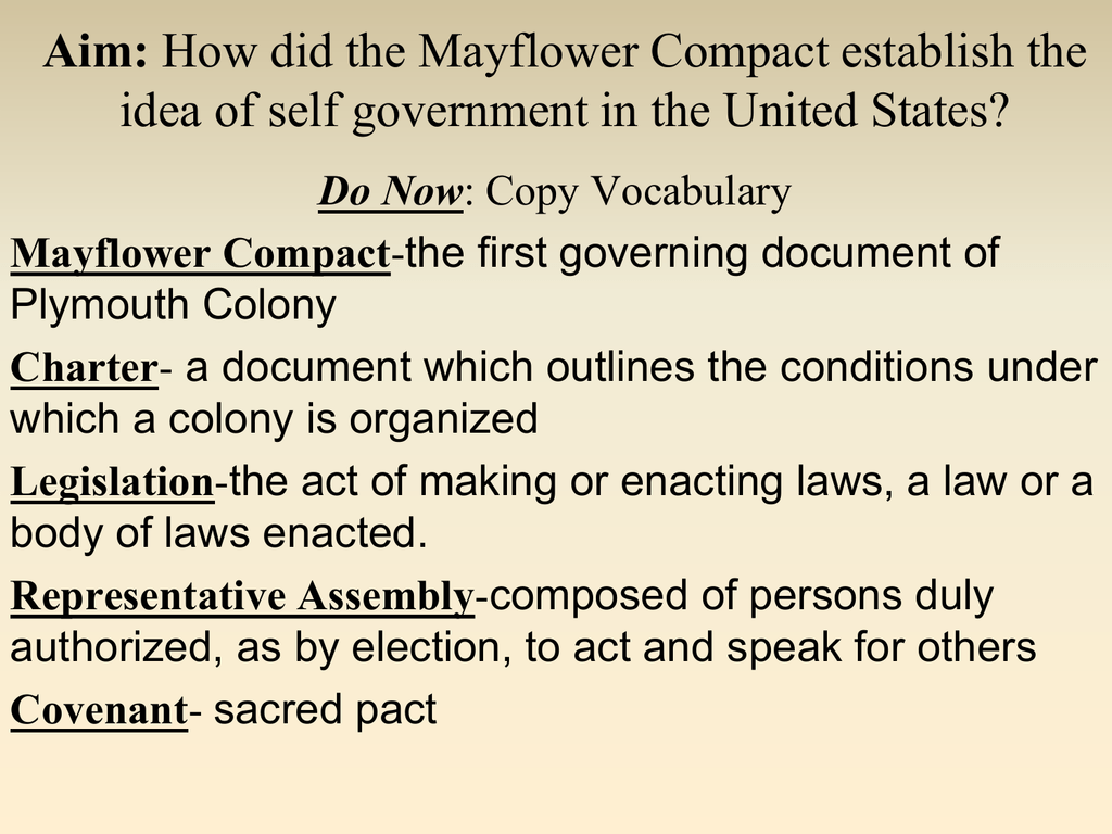 The Mayflower Compact John Bowne High School