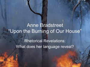 "Anne Bradstreet ""Upon the Burning of Our House"""