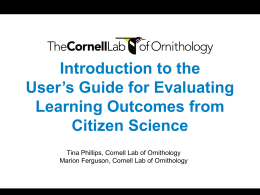 User`s Guide for Evaluating Learning Outcomes from Citizen Science