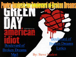 Poetry Analysis for Boulevard of Broken Dreams
