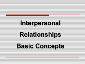 Interpersonal Relationships Basic Concepts