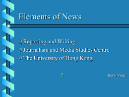 Elements of News - Journalism and Media Studies Centre