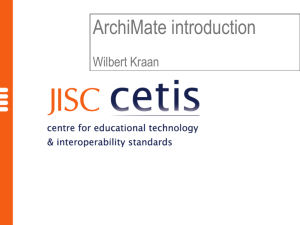ArchiMate introduction Wilbert Kraan Overview ArchiMate