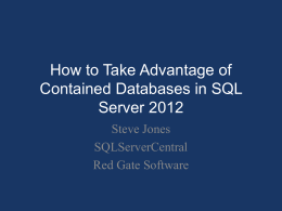 How to Take Advantage of Contained Databases in SQL Server 2012
