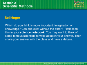 Scientific Methods Section 2 Bellringer