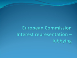 Interest representation – lobbying & European Commission