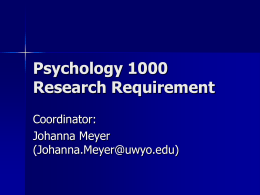 Psychology 1000 SONA Presentation