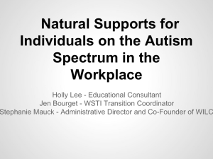 Natural Supports for Individuals on the Autism Spectrum in the