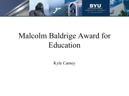 The Baldrige Education Criteria for Performance