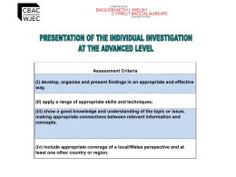 Presentation of the Investigation at Advanced Level