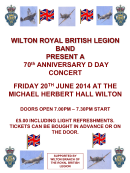 WILTON ROYAL BRITISH LEGION BAND PRESENT A 70 th