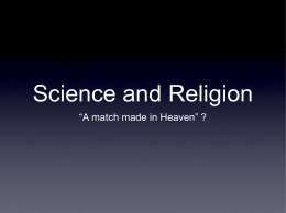 Sciemce and Religion