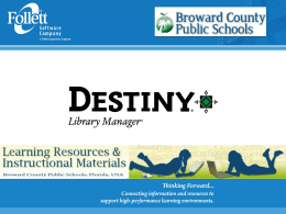 SBBC`s Destiny Orientation PowerPoint