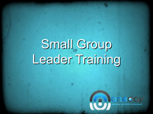 Small Groups Leader Training