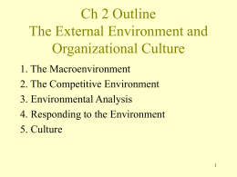 Ch 2 Outline The External Environment and Organizational Culture