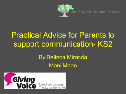 Practical Advice for Parents to support communication