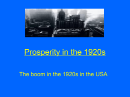 Prosperity in the 1920s