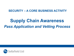 Security and the Supply Chain presentation