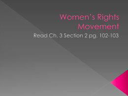 Women`s Rights Movement - Madison County Schools