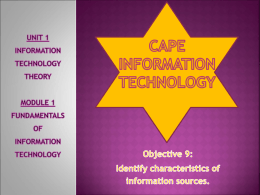 CAPE INFORMATION TECHNOLOGY Unit 1 – module 1