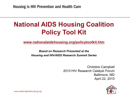 PowerPoint Presentation - Housing as an HIV Prevention and Health