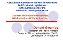The Role and Possible Partnerships with Institutions of Higher