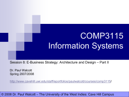 COMP3115 Information Systems - The University of the West Indies