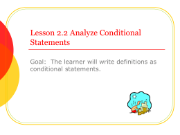 Lesson 2.2 Analyze Conditional Statements