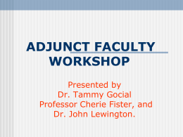 teaching and assessment skills for adjunct faculty