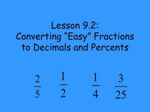 "Lesson 9.2: Converting ""Easy"" Fractions to Decimals and Percents"