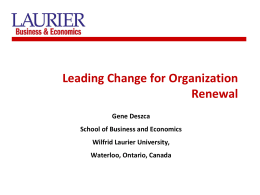 Leading for Organizational Renewal