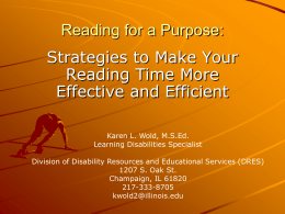 Reading for a Purpose: - Disability Resources & Educational Services