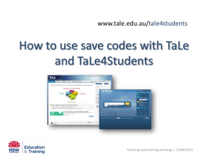 How to use save codes with TaLe and TaLe4Students